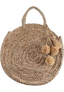 Round basket in natural straw and pompons - PANIER POMPONS RIO NATUREL
