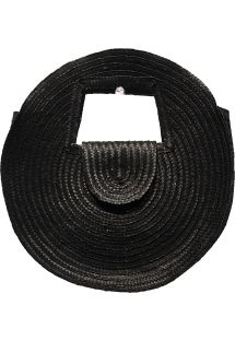 Round basket in black natural straw - PANIER SALINA S BLACK