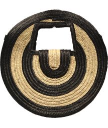 Round basket in two-tone natural straw - PANIER SALINA S BLACK AND WHITE