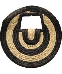 Panier rond en paille naturelle bicolore - PANIER SALINA S BLACK AND WHITE