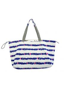 Cotton printed beach bag with woven handles - FRENCH MARINA