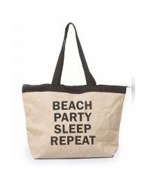 Natural beach tote bag with inscription - BOLSA JUTA COM SILK