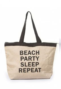 Natural beach tote bag with inscription - BOLSA JUTA COM SILK