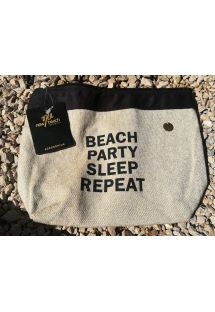 Natural / black pouch with inscription - NECESSAIRE BEACH PARTY