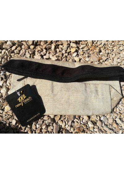 Natural / black pouch with inscription - NECESSAIRE BEACH PARTY