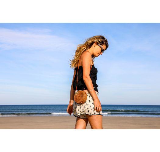 Small round natural rattan shoulder bag - SAC BALIBAG S NATUREL