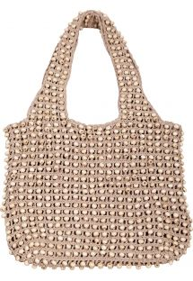Beige crochet bag with wooden beads - SAC MILOS CAMEL