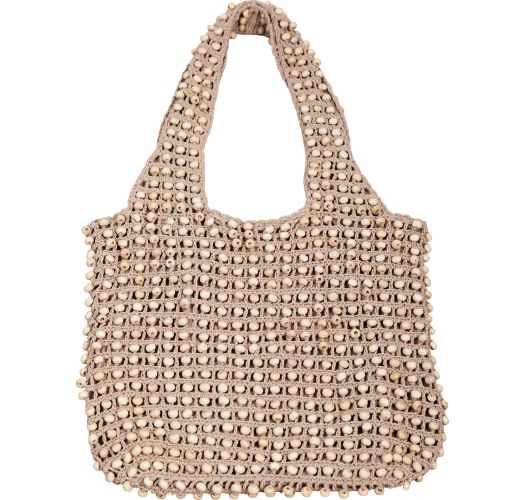 Beige crochet bag with wooden beads - SAC MILOS CAMEL