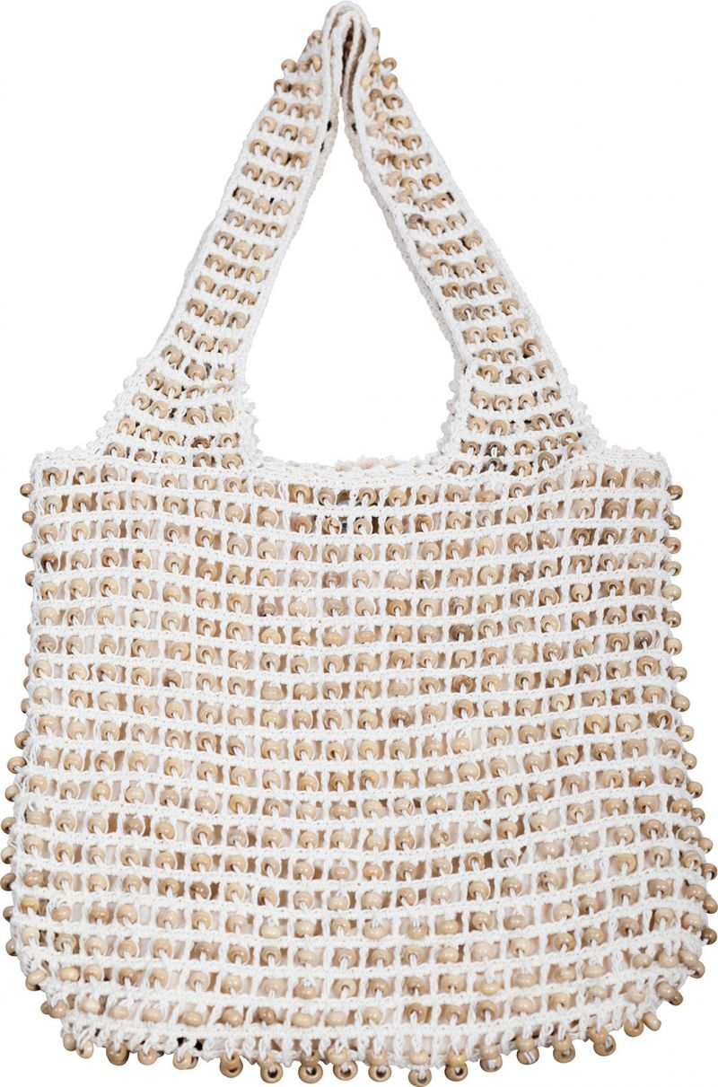 White crochet bag with wooden beads - SAC MILOS OFF WHITE