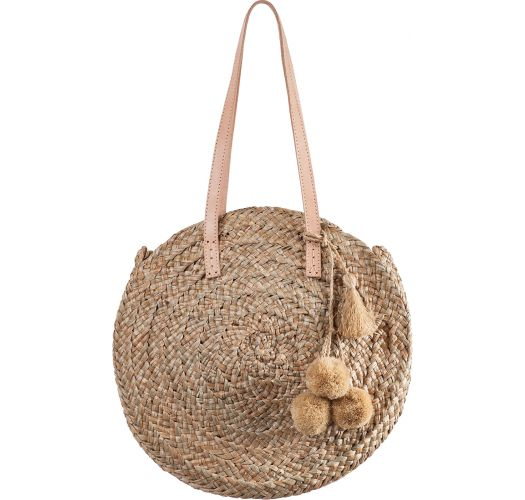 Round basket in natural straw and pompons with leather handles - SAC POMPONS RIO NATUREL