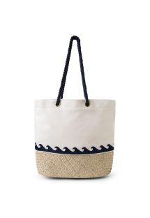 Beach bag made of canvas and braided straw - BOLSA LONA PALHA