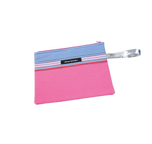 Pink/blue pouch made from kikoy fabric and imitation leather - MINI POCKET HIBISCUS