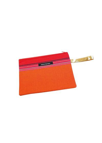 Orange påse i tyg och konstläder - MINI POCKET MOOREA