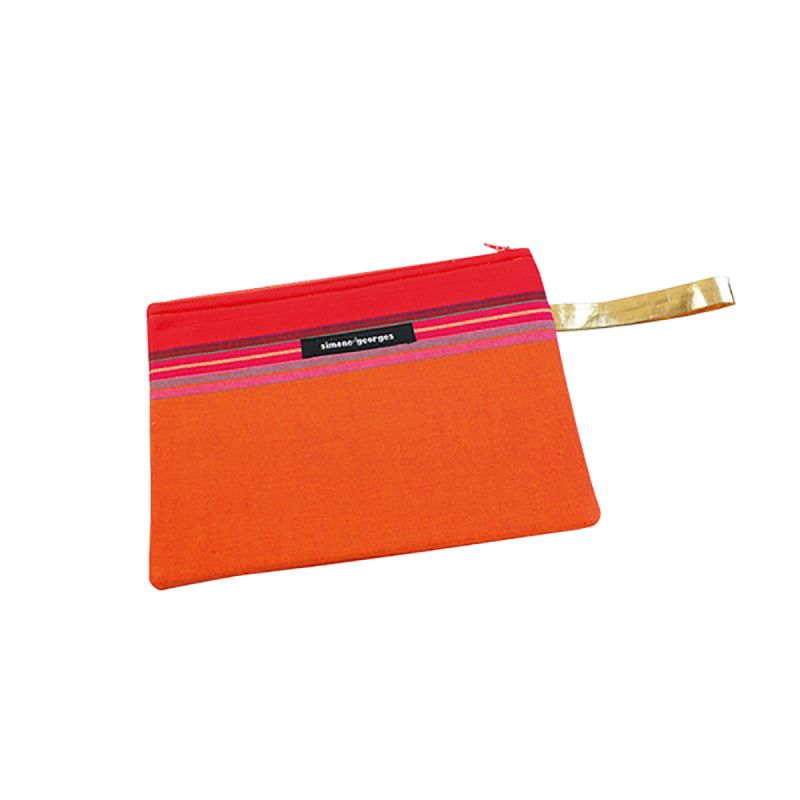 Orange pouch made from kikoy fabric and imitation leather - MINI POCKET MOOREA
