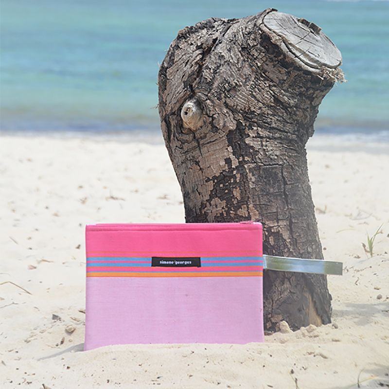Light pink pouch made from kikoy fabric and imitation leather - MINI POCKET NAPENDA