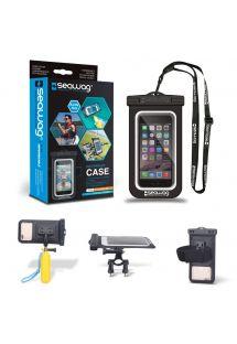 Funda impermeable para smartphone con soporte para brazalete para bicicleta y mini stick flotante para selfies - SEAWAG BUNDLE PACK WATERPROOF