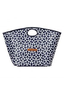 Navy blue & white beach bag with geometric pattern - BAG ANDAMAN