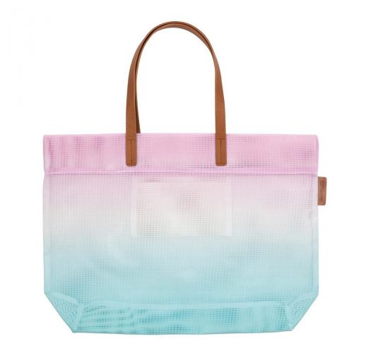Blue and pink gradient beach tote bag - BEACH BAG LUXE MESH MALIBU
