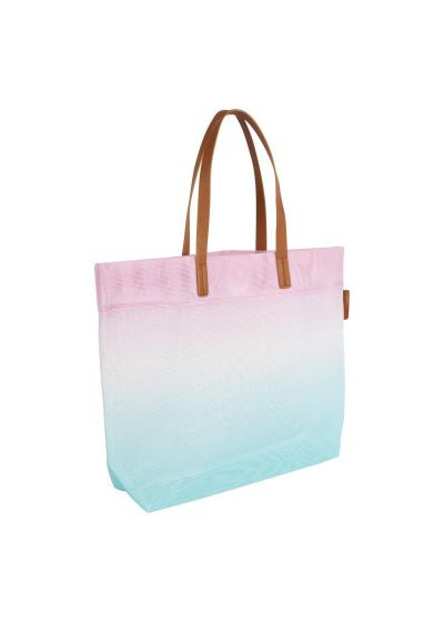 Blue and pink gradient beach tote bag - BEACH BAG LUXE MESH MALIBU