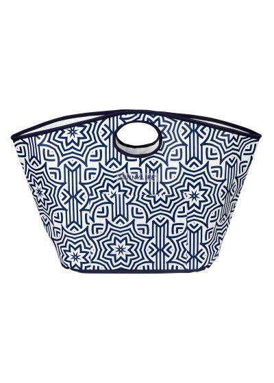 Blue printed sturdy tote beach bag - CARRYALL BAG AZULE