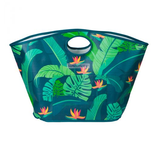 Green foliage printed sturdy tote beach bag - CARRYALL BAG MONTEVERDE