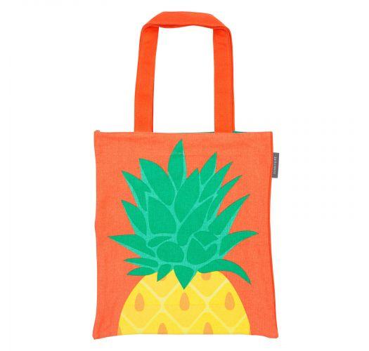 Oransje bomullsnett med ananasmønster - COOL PINEAPPLE