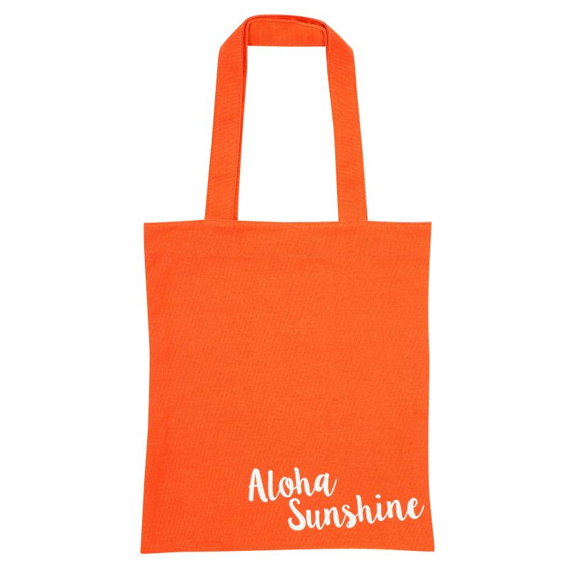 Orange cotton tote bag with pineapple print - COOL PINEAPPLE