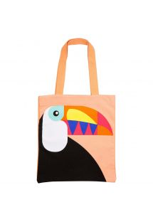 Cotton tote bag with toucan print - COOL TOUCAN