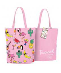 Pink beach bag with motifs x Tiffany Cooper - COOL TROPI
