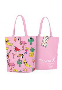 Różowa torba plażowa z letnimi motywami x Tiffany Cooper  - COOL TROPI
