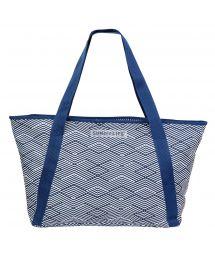 Navy blue printed beach cool bag - COOLER BAG MONTAUK