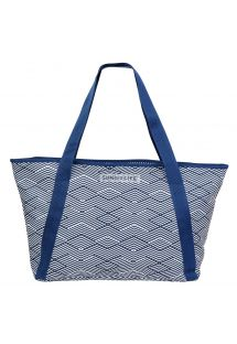 Navy blue printed beach cool bag - COOLER BAG MONTAUK