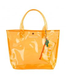 Orange fluo beach bag with a pocket - MARKET BAG NEON ORANGE
