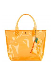 Strandtas in fluorescerend oranje met minitasje - MARKET BAG NEON ORANGE