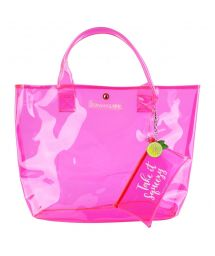 Pink fluo beach bag with a pocket - MARKET BAG NEON PINK