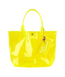 Yellow fluo beach bag with a pocket - MARKET BAG NEON YELLOW
