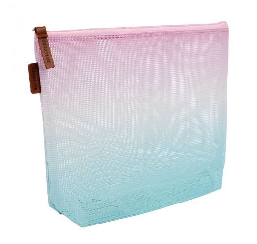 Blue and pink gradient beach pouch bag - MESH COSMETICS BAG MALIBU