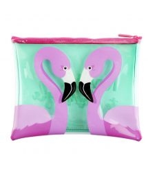 Plastic-coated zip bag with flamingo motif - POUCH FLAMINGO