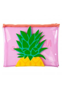 Plastic-covered zip bag with pineapple print - POUCH PINEAPPLE