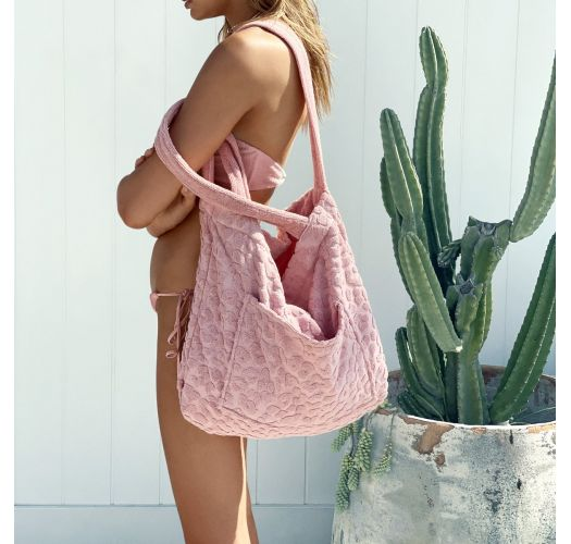 Light pink leopard 2-in-1 beach bag and towel - TERRY TOTE COTW PINK