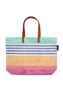 Colorful beach bag with leather stripes - TOTE CATALINA