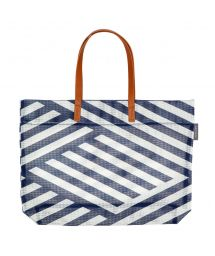 Navy blue geometric print beach bag - TOTE MONTAUK