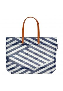 Navy blue geometric print beach bag - TOTE MONTAUK