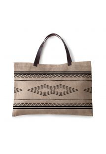 Ethnic burlap bag with leather handles - JUTE BAG KILIM