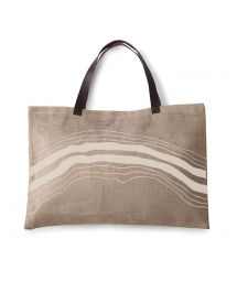Two-tone design burlap and leather bag - JUTE BAG MIRAGE
