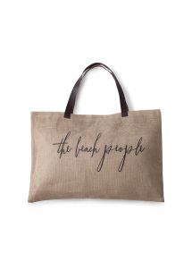 Hessian beach tote with leather handles - JUTE BAG ORIGINAL