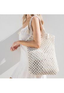 White macrame handmade shopping bag - MACRAME BRANCO