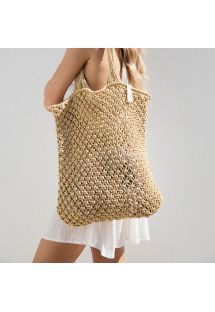 Natural handmade beige macrame shopping bag - MACRAME NATURAL