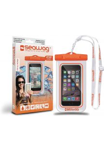 Waterproof pouch for all smartphones orange - SEAWAG WHITE & ORANGE WATERPROOF CASE 5.7
