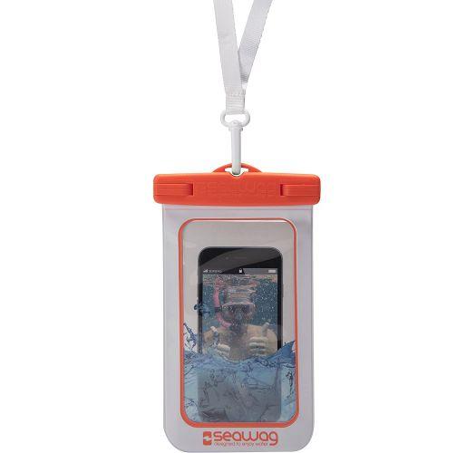 Waterproof pouch for all smartphones orange - SEAWAG WHITE & ORANGE WATERPROOF CASE 5.7